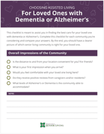 Choosing Assisted Living for Loved Ones With Dementia or Alzheimer's Checklist