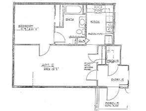 One Bedroom One Bath Floor Plan at Hawks Nest in Monroe County