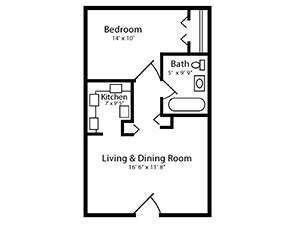 One Bed One Bath Floor Plan | Affordable Senior Housing in Shrewsbury