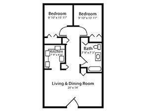 Two Bed One Bath Floor Plan