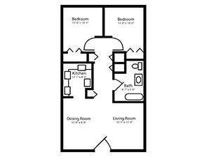 Two Bed One Bath Floor Plan in Mechanicsburg, PA