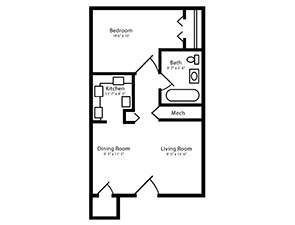 One Bed One Bath Floor Plan   Affordable Senior Apartments