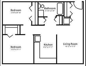 Two Bed One Bath Floor Plan in Mechanicsburg, PA