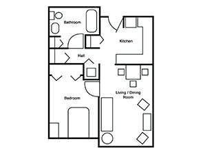 One Bed One Bath Floor Plan | Affordable Senior Apartments