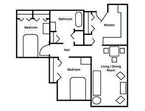 Two Bed One Bath Corner Unit Floor Plan