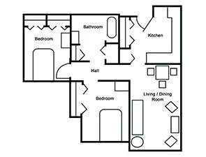 Two Bed One Bath Corner Unit Floor Plan
