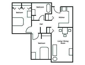 Two Bed One Bath Floor Plan at Springwood Overlook