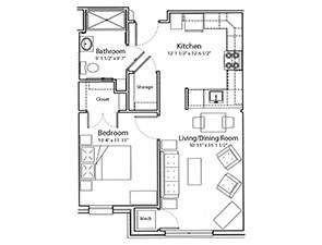 One Bedroom One Bath Floor Plan | Stony Brook Gardens