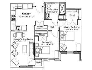 Two Bedroom One Bath Floor Plan | Affordable Senior Apartments in York