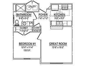 One Bedroom One Bath Floor Plan | Affordable Senior Apartments