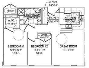 Two Bedroom One Bath Floor Plan   Westminster Place at Bloomsburg