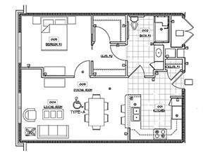 One Bedroom One Bath Floor Plan   Affordable Senior Housing