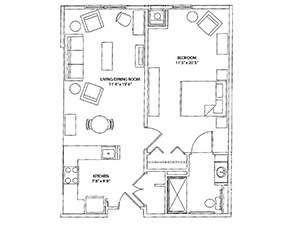 One Bedroom One Bath Floor Plan | Affordable Senior Apartments