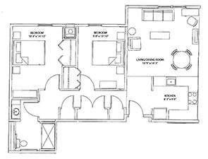 Two Bedroom One Bath Floor Plan | Westminster Place at Queen Street in York, PA