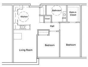 Two Bedroom One Bath Floor Plan | Westminster Place at Stewartstown