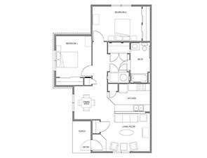 Two Bedroom One Bath Floor Plan | Affordable Senior Apartments