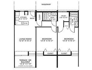 Two-Bedroom Deluxe Floor Plan