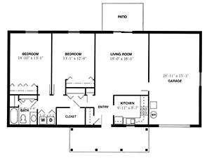 Two Bedroom / One Bath | Green Ridge Village