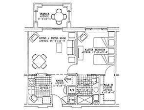 Residential Living Floor Plan: One Bedroom with Terrace