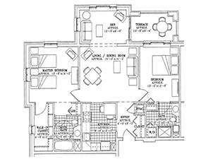 Residential Living Floor Plan: Two Bedroom Deluxe