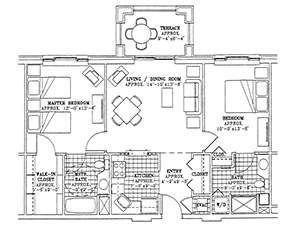 Residential Living Floor Plan: Two Bedroom