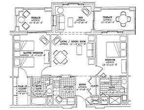 Residential Living Floor Plan: Two Bedroom with Den