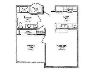 One-Bedroom Senior Apartment Floor Plan