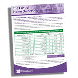 The Cost of Home Ownership at a Retirement Community