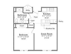 Westminster Place Floor Plan 1B