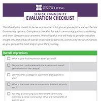 Senior Community Evaluation Checklist