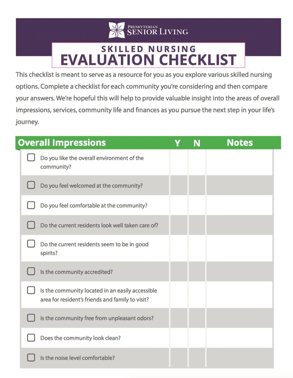 Skilled Nursing Evaluation Checklist