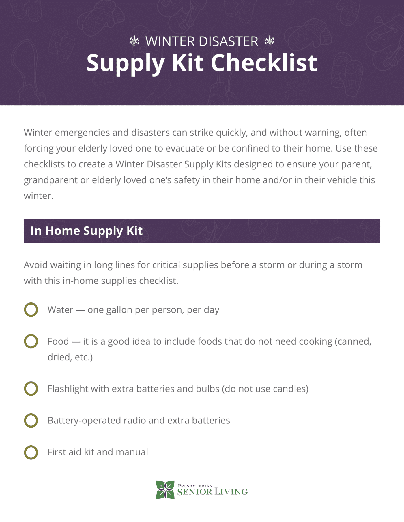 Resources   Winter Disaster Supply Kit Checklist