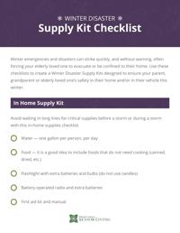 Winter Disaster Supply Kit Checklist