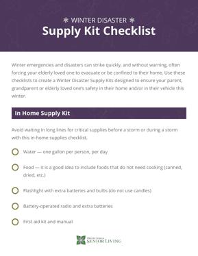 Resources | Winter Disaster Supply Kit Checklist