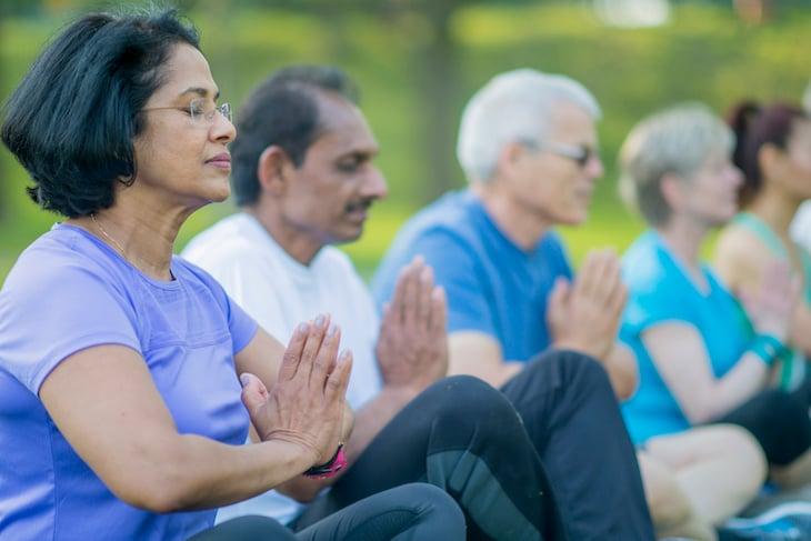 seniors meditating