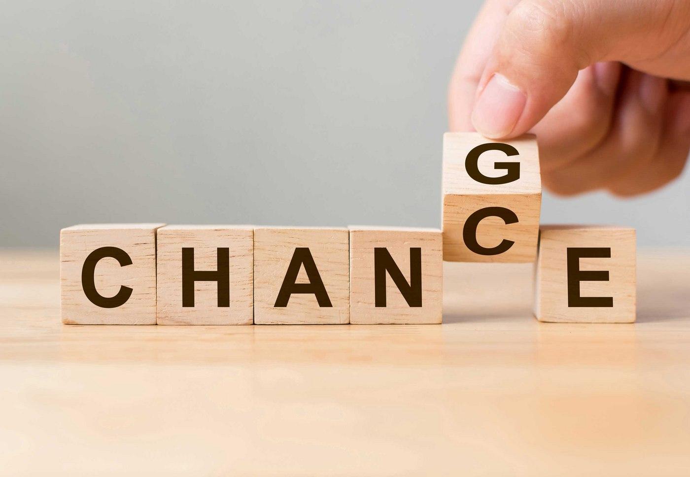Change Brings Chance Wooden Blocks