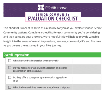 psl senior community evaluation checklist
