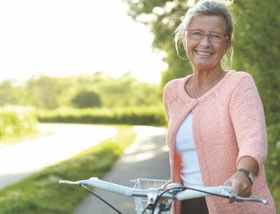Older woman on a bike